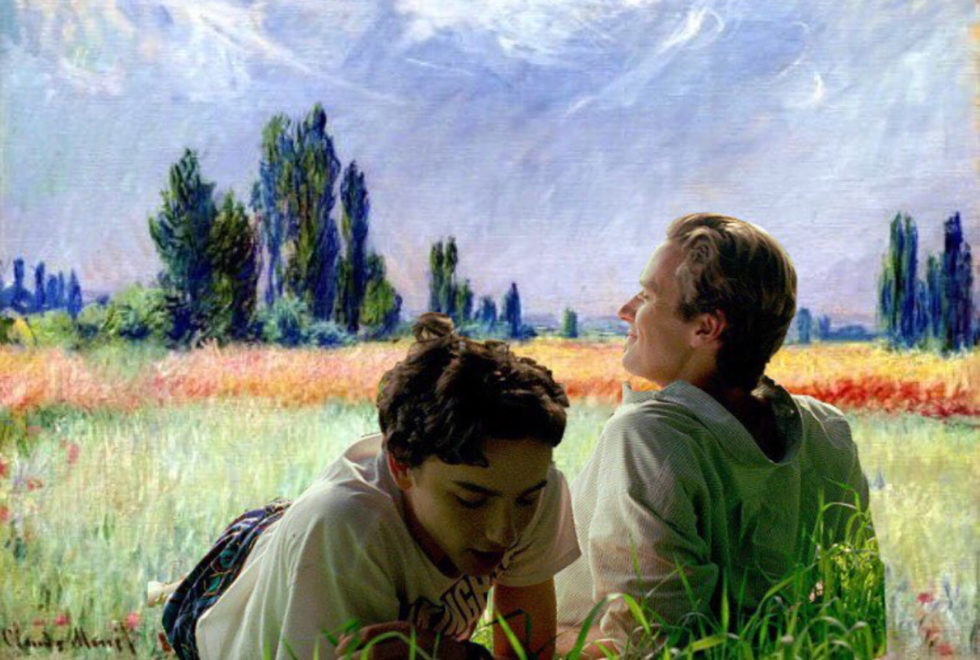 Os personagens Elio (Timothée Chalamet) e Oliver (Armie Hammer) no quadro 'The Wheat Field' de 1881