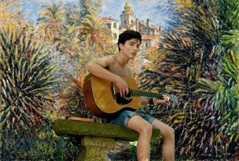 O personagem Elio (Timothée Chalamet) no quadro 'Gardens of the Villa Moreno, Bordighera' de 1884