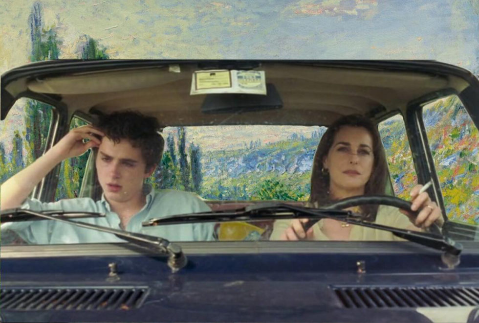 Os personagens Elio (Timothée Chalamet) e Annella Perlman (Amira Casar)  no quadro 'The Road from Vetheuil' de 1880